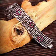 925 Sterling Silver Natural Ruby Emerald & Cubic Zircon Party Wear Bracelet 07