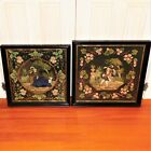 Pair of Victorian Mid-19th Century Figural Woolwork Pictures