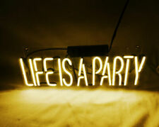 """13"""" Life Is A Party Neon Sign Light Beer Bar Pub Lamp Display Glass Decor"""