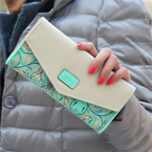Women Leather Wallet Clutch Envelope Long Phone Card Holder Purse Handbag US