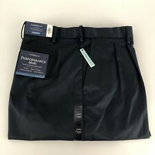Croft&Barrow Mens Size 42x30 Performance khaki pleated pants Navy Space A4607