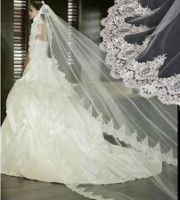 NEU Ivory/Weiss Lang spitze Brautschleier Braut Schleier Hochzeit 2.84m