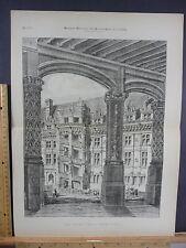 Rare Antique Orig VTG Grand Staircase Francis I French Illustration Art Print