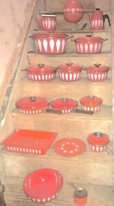 25 pc Cathrineholm Lotus Orange Pots Pans Fondue Bowl Coffee Tea Stands Lids