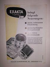 ORIGINAL  EXAKTA VAREX IIA IHAGEE DRESDEN 1957 Prospekt Kamera  DDR