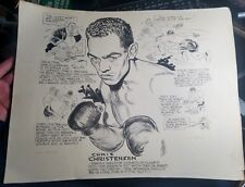 1954 BOB COYNE ORIGINAL CARTOON ART-BOXING-CHRIS CHRISTENSEN TONY DeMARCO-RARE