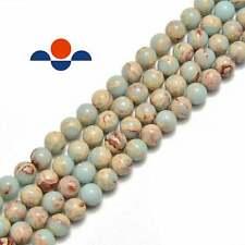 "Light Green Sea Sediment Jasper Smooth Round Beads 4mm 6mm 8mm 10mm 15.5"" Strand"