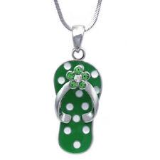 White Polka Dot Lime Green Flip Flop Beach Sandal Flower Pendant Necklace