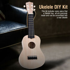 21 Inch Lightweight Unpainted Basswood 4 String Ukelele DIY Kit for Kids Gift