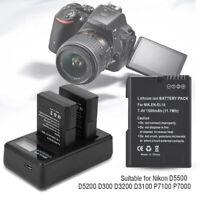 2*EN-EL14 Batteries+LCD Camera Battery Charger For Nikon D5200 D3200 D3100 Cam S