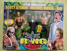 WCW 1999 ToyBiz Ring Announcer Series Scott Steiner Michael Buffer & DDP RARE