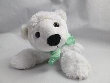 PETTING ZOO ALASKA 1994 WHITE POLAR BEAR GREEN RIBBON BOPLUSH STUFFED ANIMAL TOY