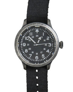 Mil-Tec Army Uhr British-Style Dull Armbanduhr Edelstahl Quarz Schwarz