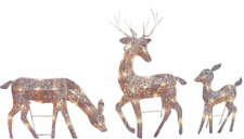 Lighted Outdoor Yard Christmas Holiday Decor Reindeer Figure Set Xmas Decoration