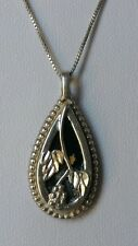 Carolyn Pollack Onyx Pendant Necklace Sterling Silver Grapevine Design 925 Chain