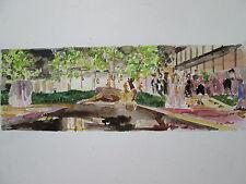 "Original Watercolor/MOMA III (MuseumModrnArt), NYC/ 16"" x 5""/ Mimi Davis, Artist"