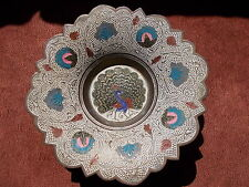 enamel on copper footed dish / bowl, peacock design (islamic art ?)