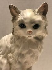 Vintage Lefton Japan Hand Painted Ceramic White Persian Cat Blues Figurine 1514