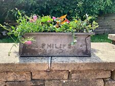 Industrial Tote Pan metal box Philips1970s vintage planter tray