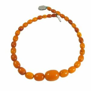 Antique Solid Natural Butterscotch Amber Olive Bead Necklace 28gms.
