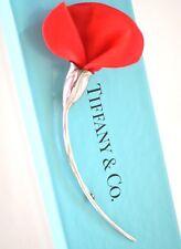 925 Tiffany & Co Plata de Ley Broche Rojo Seda Amapola Amapola Elsa Peretti