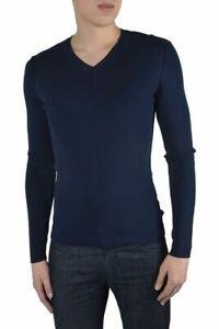 Dolce & Gabbana Men's Blue Stretch V-Neck Sweater US XS IT 46