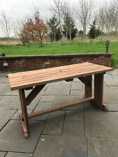 4ft Garden Picnic Table - BBQ Table - Garden Furniture - in Rustic Brown Stain