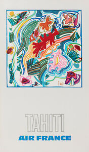 Original Vintage Poster - Raymond Pages - Air France - Tahiti - Airplane - 1971