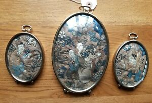 Three Antique Chinese Silk Embroidery Panels Framed 19th Century
