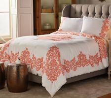 Casa Zeta-Jones Vintage Lace Printed Cotton Twin Comforter Set, Coral