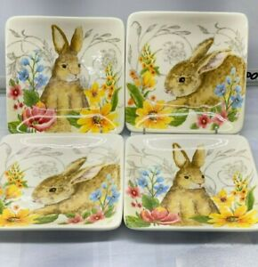 "4 pcs set Maxcera Easter Bunny Rabbit Floral Flower Square Dessert Plate 6"" New"