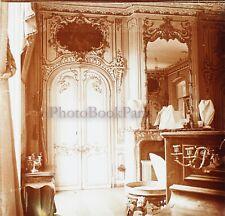 FRANCE Abbeville Intérieur château Décoration c1920 Photo Stereo Plaque verre