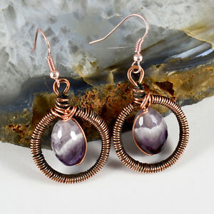 Facet Amethyst Crystal Dangle Earrings Antiqued Copper Wire Wrapped Gemstone