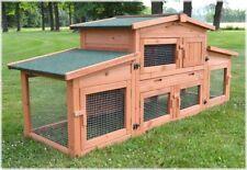 Zooprimus ❤ Cage Clapier Enclos lapin en bois de pin haute qualité 185x51x75 cm