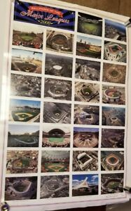 2000 MLB Ballparks of the Major Leagues Signed Poster Stadiums 24 x 35