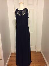 NWT City Chic Blue  Maxi Dress w/ Lace Inserts & Cutouts Size S/16  (Plus Size)