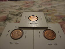 SET of 3 UNC 1 cent coins 1966, 1967,1969, from MINT ROLLS