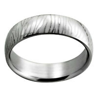 Surgical Steel Etched Zebra Stripe Ring - New Sizes 7, 12