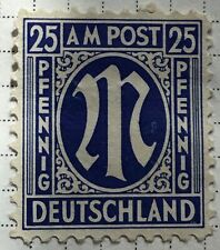 Germany stamps - Allied Military 'M' in Circle  1945 25 German reichspfennig