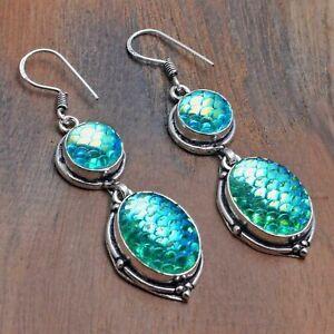 "Rainbow Fish Titanium Handmade Drop Dangle Earrings Jewelry 2.2"" AE 21782"