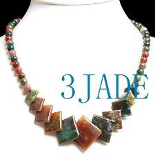 """Agate Beads Necklace 18"""" Natural Multi-color Moss"""
