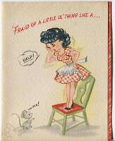 VINTAGE PRETTY GIRL PIN UP MOUSE BIRTHDAY CAKE MID CENTURY LITHO GREETING CARD