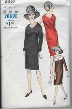 Vtg Vogue 6327 Pattern 1960s 60s Dress Coatdress Wrap Wide Collar Mod 16