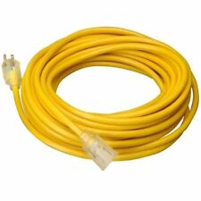 15 FT 14 Gauge Indoor Outdoor Heavy Duty Power Extension Cord Yellow UL w/ Light