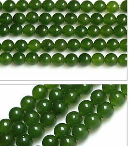 "6mm 8mm 10mm 12mm Genuine Natural Green Jade Round Loose Beads 15"" Strand"