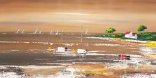 Tableau peinture paysage marin, peinture originale bateau mer art toile+châssis