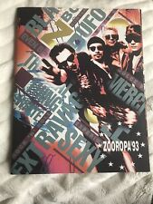 U2 1993 Tour Zooropa Official Tour Original Large Program With Ticket Stub
