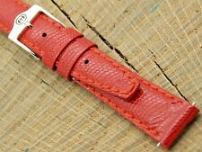 Gucci NOS Unused Watch Band Red Leather with Silver Tone Buckle Vintage 14mm