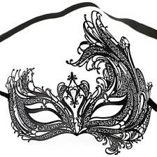 Fancy Venetian Black Metal Party Mask Filigree Masquerade Diamante Prom