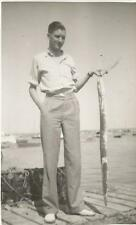 FISHERMAN WITH HIS CATCH PHOTO POSTCARD